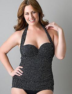 Retro inspired one-piece swimsuit features flattering shirred sides, a tie halter and pleated bust. Make a splash in Lane Bryant plus size swimwear, designed to fit and flatter the full figured woman. Plus Size Bikini Bottoms, Plus Size Tankini, Women's Plus Size Swimwear, Curvy Swimwear, Trendy Swimwear, One Piece Swimwear, Pernas Sexy, Curvy Bikini, Cute Bathing Suits