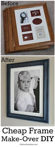 Cheap frame make-over DIY. Four XL frames were purchased at a thrift shop for $2 each and transformed for less than $10. See post to see how. {lifeshouldcostless.com}