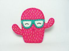 Spirited Fantasia Cactus Felt Brooch / Neon Pink by hanaletters