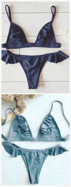 The swimwear is featuring triangle top, bikini bottom, ruffle decoration, 2 piece and solid color. Bikini Swimwear, Bikini Set, Thong Bikini, Swimsuits, Summer Of Love, Summer Time, Bronte Beach, Mode Lookbook, Sewing Lingerie