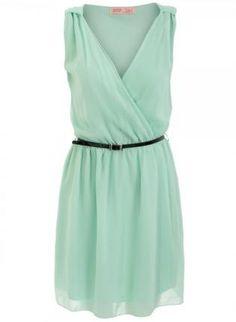 Mint Green Chiffon Dress with Black Skinny Belt,  Dress, mint green dress  chiffon, Chic