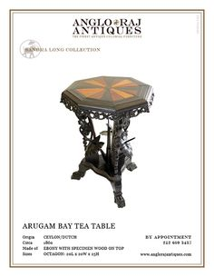 The finest antique colonial furniture from South Asia within extensive ebony collection. Bringing you the finest in Anglo Indian Furniture and Antiques. Indian Furniture, Antique Furniture, Arugam Bay, Tea Tables, Colonial Furniture, Antiques, Wood, Dutch, Interiors