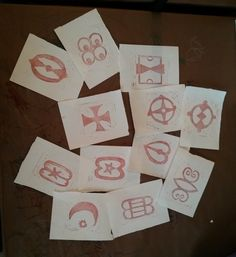 Prints from our new set of Adinkra symbol stamps, hand-carved by one of our talented interns!
