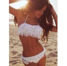 White lace push up bikini
