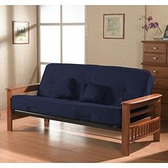 Primo International Providence Complete Futon With Wooden Arms And 8inch Pocket Coil Matress Pillows Cobalt
