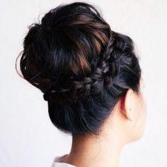 Glamorous braided updo bun wedding hairstyle; Featured Hairstyle: Heidi Marie Garrett