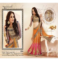 Designer Sarees :: Orange & Pink wedding collection Designer Saree with Blouse.