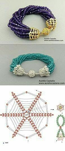 Beaded end/bead caps Beading Patterns Free, Beaded Jewelry Patterns, Beading Tutorials, Beaded Beads, Beads And Wire, Beading Techniques, Seed Bead Jewelry, Beading Jewelry, Seed Bead Tutorials