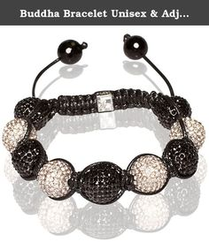 Buddha Bracelet Unisex & Adjustable In Black And White (Item Includes Gift Box). The new trend in Tibetan inspired bracelets are the micro-pave crystal balls. They come in all colors and are comfortable to wear. Stack them up and make a statement! They have black macrame string that is braided. The bracelet is easily adjustable in size using slip knot.