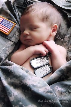 Military baby photo...This would be cute with a badge & turnouts too!