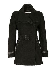Belted Bouclé Moto Coat, Black, hi-res
