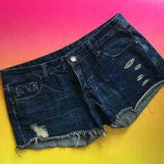 Miss Jeans Shorts sequins & distress Miss Jeans denim Jean shorts in cut off style with distress, cute cut outs and sequins on black background. (These are not the chic 'Miss Me brand' if you are buying as gift. Separate brand, separate company.) Size 30. Great condition. No stretch. Super cute. Miss Jeans Shorts Jean Shorts