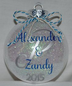 Glittered Monogram and Personalized Ornament by SJPandCO on Etsy