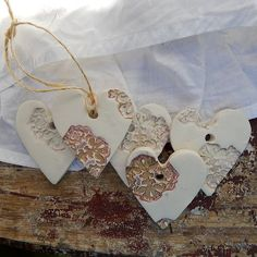 Clay Heart Tag Ornaments or Gift Tags by BarnCandy
