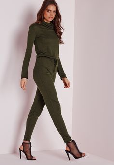 Missguided - Long Sleeve Ribbed Drawstring Jumpsuit Khaki