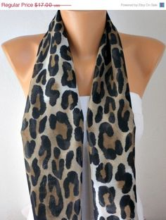 ON SALE Leopard Scarf - Infinity Scarf Shawl Circle Scarf Loop Scarf Gift -fatwoman on Etsy, $15.30