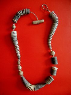 """""""Stone Age"""" Necklace made of polymer clay and Miyuki seed beads created by Sonya G."""
