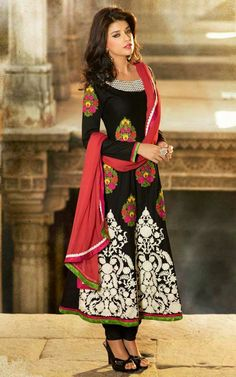 BLACK & OFF WHITE COTTON ANARKALI SALWAR KAMEEZ - DIF 29565