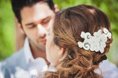 Wedding hair accessory lace piece with pearl on a comb