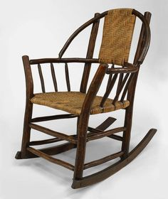 Attributed to the esteemed Old Hickory Furniture Company, this rocking armchair features a hoop back and a rattan splat back and seat. The piece is branded Rustic Hickory Furniture Co. Old Hickory Furniture, Hickory Chair, Wicker Furniture, Rustic Furniture, Antique Furniture, Furniture Ideas, Love Chair, Rustic Chair, Cabins And Cottages