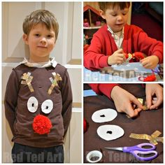 diy kids Super SImple Christmas Jumper Day Craft for KIDS. if you are having a Christmas Jumper Day at school and need a jumper urgently. try this DIY Reindeer! Ugly Sweater For Kids, Boys Ugly Christmas Sweater, Ugly Xmas Sweater, Christmas Jumpers, Noel Christmas, Christmas Shirts, Reindeer Christmas, Simple Christmas, Christmas Outfits