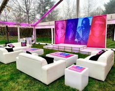 Lounges · Party & Event Decor · Balloon Artistry Corporate Event Design, White Lounge, Lounge Party, Event Planning Business, Lounge Decor, Outdoor Furniture Sets, Outdoor Decor, Outdoor Parties, Event Decor