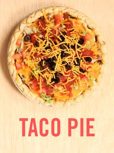 Taco or pie? Why not both? Here is a fun twist on a classic #taco recipe — use a frozen pie crust as your base for a taco casserole. This casserole hack is perfect for dinner and parties. Top it off with cheese and dinner is served.