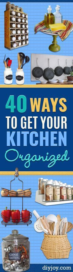 DIY Organizing Ideas for Kitchen - Cheap and Easy Ways to Get Your Kitchen Organized - Dollar Tree Crafts, Space Saving Ideas - Pantry, Spice Rack, Drawers and Shelving - Home Decor Projects for Men and Women http://diyjoy.com/diy-organizing-ideas-kitchen