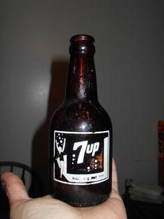 RARE Vintage Amber Midget Squat 7-UP Soda Bottle-Very Nice For Age-UNIQUE
