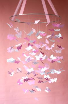 Pink Butterfly Mobile - this would be adorable in a little girl's room!