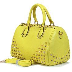 http://www.westshoregems.com/summer-purse-collection.html  #245K - P160024 B  Spike Studded Handbag  Dual handle carrier and detachable shoulder strap.  Material: faux leather  Zipper top closure.  Size: 14L x 6W x 9H  Color: yellow  $44  573-301-7960