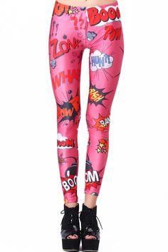 "ROMWE | ROMWE ""Explosion Font"" Print Pink Leggings, The Latest Street Fashion $25.49"