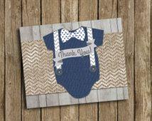 Baby Boy Shower Thank You Card Navy Blue Gray Bow Tie Suspenders Burlap Chevron Polka Dot Wood Rustic Printable Digital File