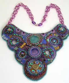 Bubbled Peacocks  Bead Embroidery Necklace by 4uidzne on Etsy, $335.00