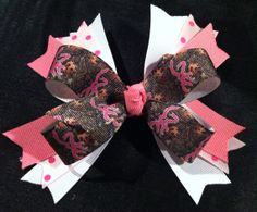 Girls pink camo hair bow by KrissysBowtique on Etsy, $5.00