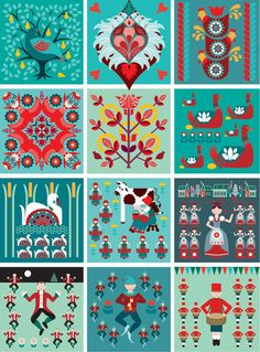 Turquoise and red folk art pattern