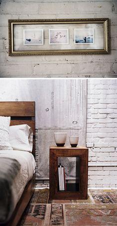 Lovely carpet with wood, white bricks