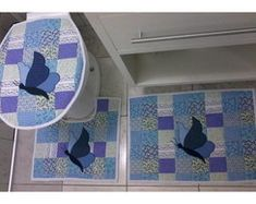 Jogo de Banheiro Borboleta Azul!