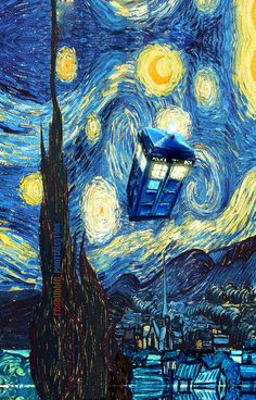 Tardis Doctor Who Starry Night Art Print