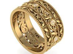 Vine and Filigree Wedding Band, Engagement Wedding Rings, 14k yellow gold band. - Engagement Rings