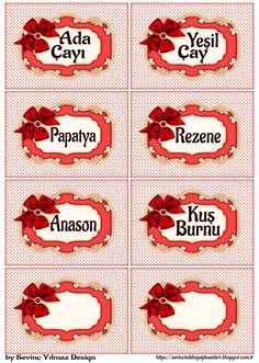 Dekupaj Desenleri: YAZILI ETİKETLER (Fiyonk&Puantiye ) ( Kırmızı ) Party Printables, Painting On Wood, Handicraft, Decoupage, Paper Art, Creative, Diy And Crafts, Kitchen Decor, Stencils
