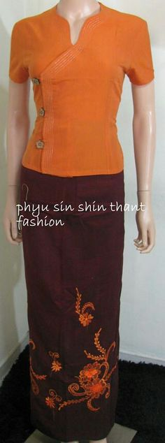 myanmar dress# designed by phyu sin shin thant Myanmar Traditional Dress, Thai Traditional Dress, African Wear, African Fashion, Myanmar Dress Design, Oriental Dress, Thai Dress, Batik Dress, Necklines For Dresses