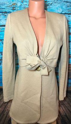 St. John Marie Gray Women's Brown Sweater Bow Sz 4 Blazer Long Top Classic  | eBay