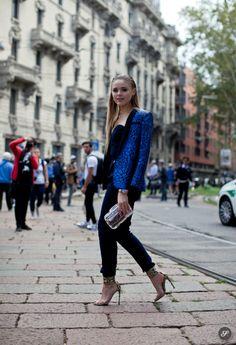 Fashion blogger Kristina Bazan - kayture- on a street style photo wearing a sandro blazer after the Gucci Fashion show during Milan Fashion ...