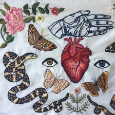 Embroidery Art and Clothing, by Tessa Perlow on Etsy Embroidery Designs, Hand Embroidery Stitches, Embroidery Patches, Diy Embroidery, Cross Stitch Embroidery, Couture Main, Pattern Floral, Yarn Crafts, Textile Art