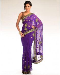 Violet Sari with Brocade Border