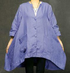 Women Blue Shirt Loose Fitting Dress Three-quarter by Royaldress