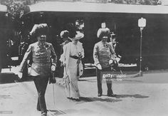 The Archduke of Austria Franz Ferdinand (1863-1914) and his wife Sophie arriving in Sarajevo where they were later assassinated. The Archduke's assassination was the immediate cause of WWI.