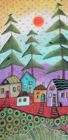 Rustic Cabins ORIGINAL Textured CANVAS PAINTING 12x24 inch PRIM FOLK ART Karla G #FolkArtAbstractPrimitive