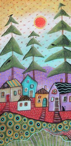 Rustic Cabins ORIGINAL Textured CANVAS PAINTING 12x24 inch PRIM FOLK ART Karla G #FolkArtAbstractPrimitive
